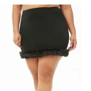 Black furry skirt